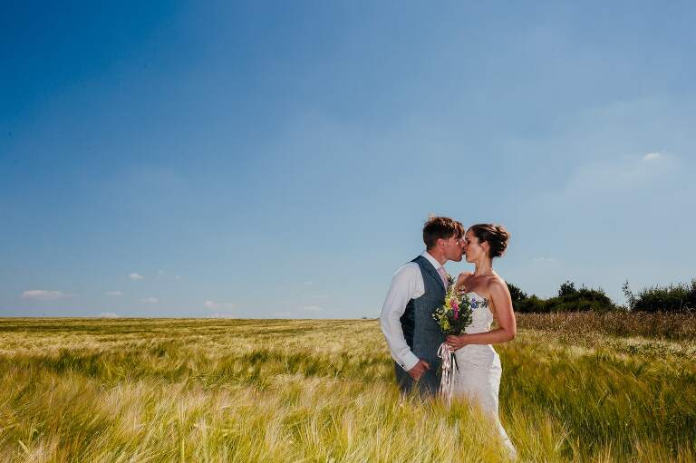 bride and groom kissing in corn field. The sky is bright blue the corn is soft and green