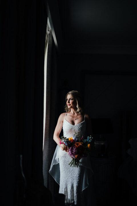 Bridal portrait at Prestwold Hall