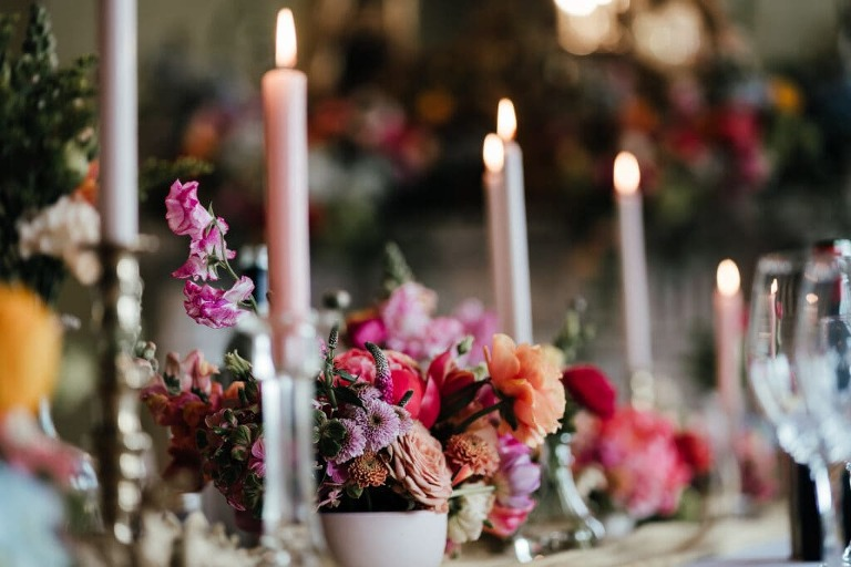 Flowers and table decoration at Prestwold Hall wedding